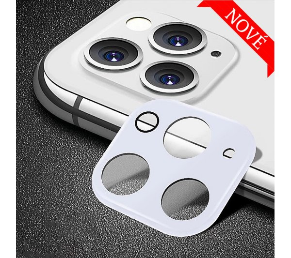 Ochranný kryt so sklom pre fotoaparát iPhone 11 Pro, 11 Pro Max - biely