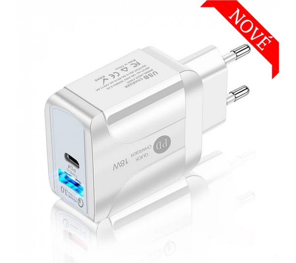 Rýchlonabíjací adaptér USB QC 3.0 a USB-C PD 18W